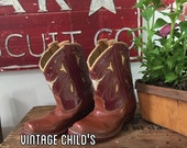 Ride 'em Cowboy ! Authentic Vintage 50s Leather Cowboy Boots - Steerhead - Stitched on Sole