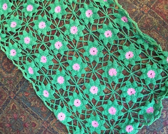 Vintage Crochet - Pair of Pretty PINK & GREEN Hand Made Daisy Runners - So Pretty in PINK