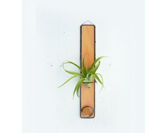 Stained Glass Air Plant Holder - Peach Orange