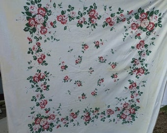 Vintage White with Red Roses Tablecloth