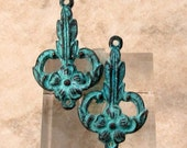 Art Nouveau Connector, Green Patina, Greek Cast Metal, 2 Pieces M473