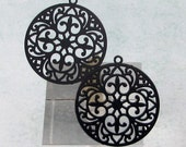 Filigree Round Charm, Blue-Black, 4 Pc. MB65