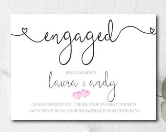 Engagement Party Invite / Engagement party invitation / Couples Shower invite / Modern wedding / printable or printed cards