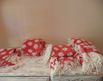 Vintage red cotton with white chenille fabric cutter fabric pieces, 4 different sizes you pick