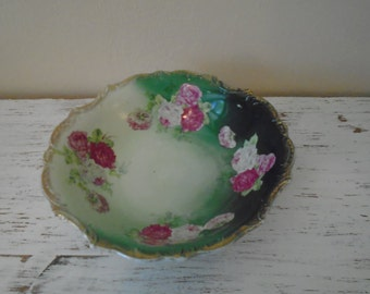 Three Crown China from Germany beautiful pink cabbage roses and shades of green large serving bowl edged in gold shabby chic