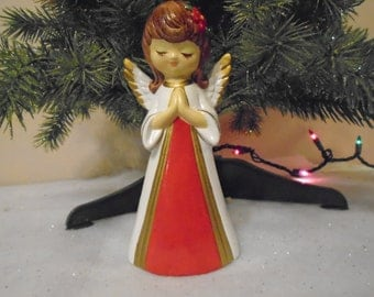 Vintage paper mache praying Christmas angle in red and gold dress / white wings / hand made in Korea