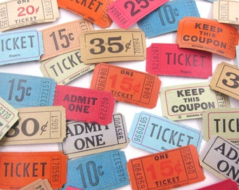 Vintage Assortment of Carnival or Raffle Tickets Never Used Set of 34