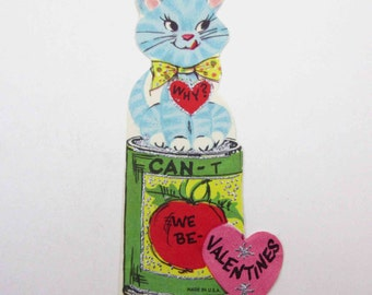 Vintage Unused Children's Novelty Valentine Greeting Card with Adorable Blue Cat on Can of Tomatoes Silvered