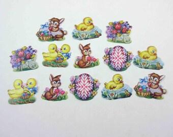 Vintage 1950s Easter Gummed Seals Stickers or Labels Set of 13 Lot C