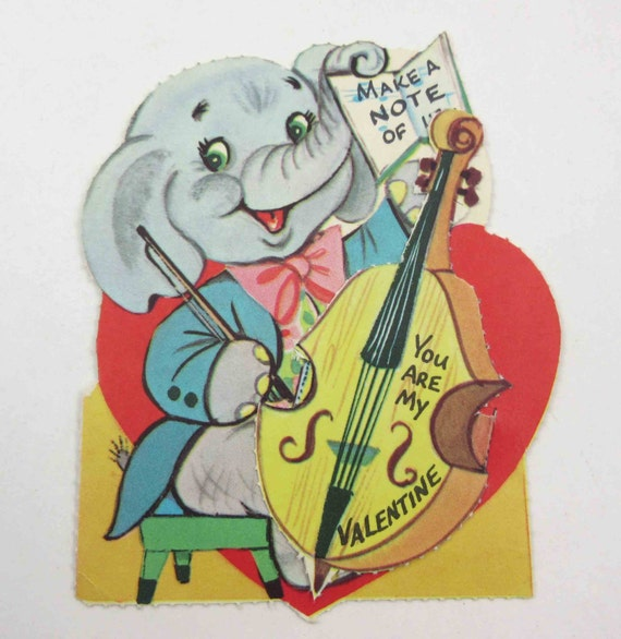 Valentines Day Elephants Vintage Cards – Elephant Valentines Card