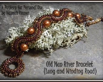 NEWLY RELEASED! Bead Pattern - Long & Winding Road Cuff Bracelet tutorial instructions - Herringbone by Hannah Rosner for personal use only