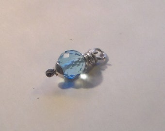 Microfaceted Swiss Blue Topaz Charm