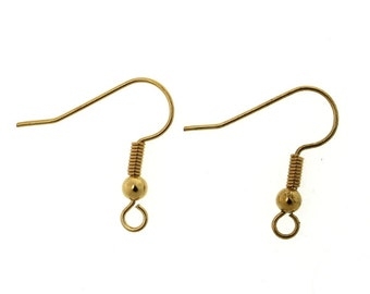 Earring Findings French Hook Ear Wire Gold Plated Bead and Coil 22ga (20) FI865