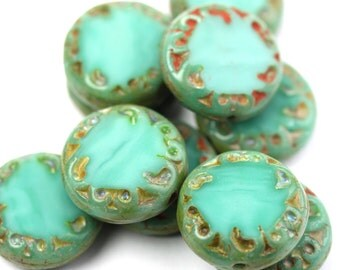 Czech Glass Bead Carved Coin 14mm Turquoise Picasso (6) CZP917