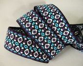 "1 yard 32"" RUSTIC STRAP wide Jacquard trim in turquoise, purple, white, on black. 2  inch wide. V474-B"