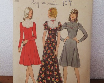 Vintage 1970's Dress Pattern Simplicity 5299 Women's Size 14 Bust 36 High Neckline Flared Long Dress Muu Muu Dress