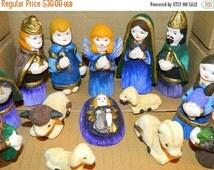 Valentines Day Sale Vintage 1970's Christmas Nativity Set Southwest Feliz Navidad Baby Jesus, Virgin Mary, Joseph, Southwest Terracotta pott