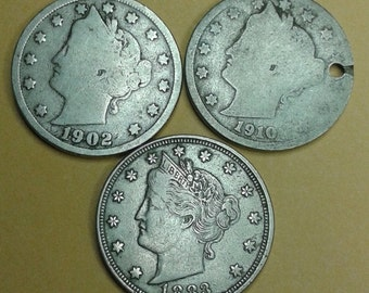 Sale Liberty Head Nickel Coin 1883 plus 1902 & 1910 (3 coins) Nickels Antique Numismatic Jewelry Supplies 3 coins for Jeweler Artist Collect