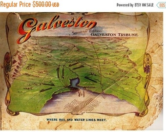ON SALE Vintage 1900s Galveston Texas Antique Souvenir Book Sea Wall Beach Pre WWI History  Customs House, Shipping Harbor Steam Train Brewe