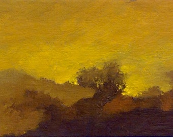 MINI 1651, 0il painting original landscape, miniature art, 100% charity donation, oil painting on cardboard
