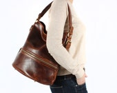 Leather Purse Bucket Handbag Vintage Brown