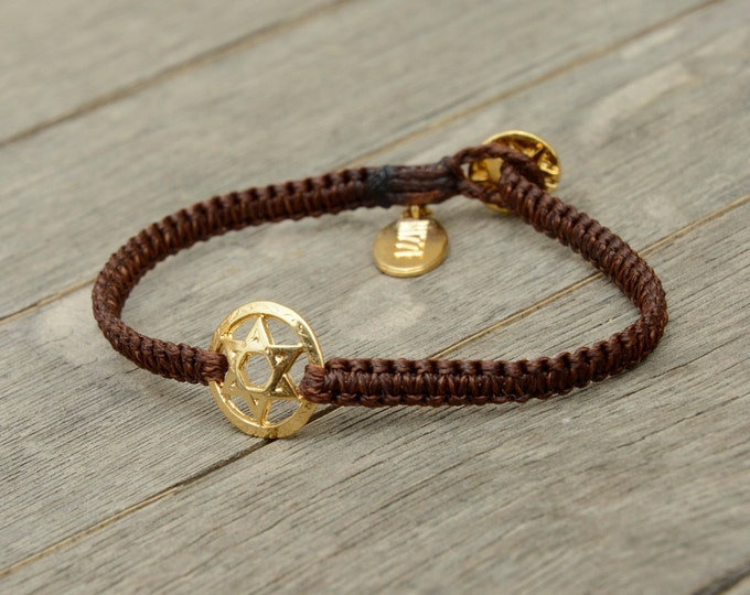 Golden Star of David Charm Bracelet on Macrame Bracelet - Colors and Sizes Available