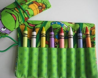 Crayon Roll Wallet Ninja Turtles Includes 8 Crayons