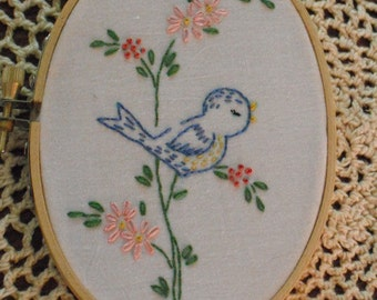 Hand Embroidered Blue Bird - Oval Hoop