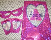 Real SPARKLY SuperHero Cape  Set for the Girly Girl - Personalized