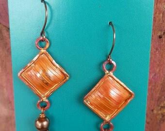 COPPER Earrings - Rustic Cowgirl Earrings - Turquoise and Pearl Earrings - Cowgirl Jewelry - Southwestern - Western Jewelry