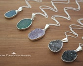 Free Form Druzy Necklace- Sterling Silver (10 available colors)