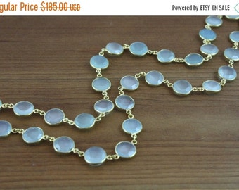 ON SALE GORGEOUS Aqua Chalcedony bezeled stone necklace- Gold Vermeil by Yania Creations