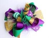 boutique ULTIMATE MARDI GRAS funky fun bow on clip or headband