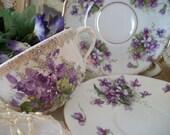 violets in the snow. vintage mismatched sweet violets antique teacup and mis match saucers, cottage charm