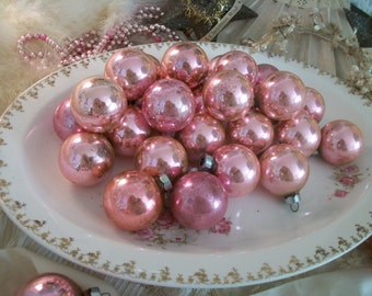 3 dozen pink usa made ornaments, glorious true vintage patina of age, timeworn, shabby, cottage chic christmas décor, old glass ornaments