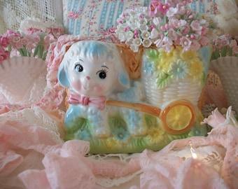 sweet baby lamb & flower cart vintage large nursery planter, baby shower decor, sweet vintage charm, springtime happy pastel colors