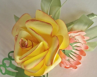 Paper  rose  boutineire  made to  order