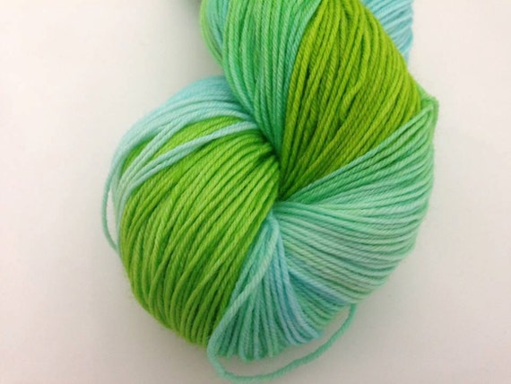 Lime & Ice - Dyed to Order - Hand Dyed - Merino Wool Yarn - Fingering Weight