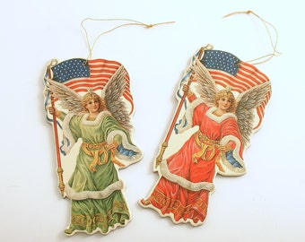 Vintage Die Cut Angel Ornaments 4th of July Decoration Independence Day