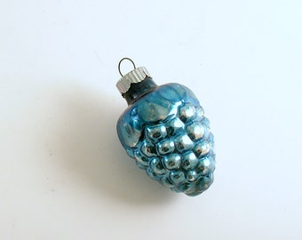 Vintage Christmas Ornament Glass Ornament Shiny Brite Aqua Mid Century Tree Decoration