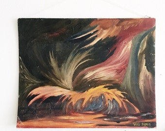 Vintage Mid Century Abstract Oil Painting -landscape