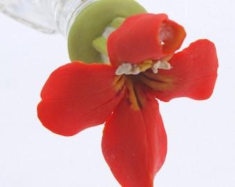 HUMMINGBIRD FEEDER -- Scarlet Monkeyflower on a Clear Hexagonal Bottle