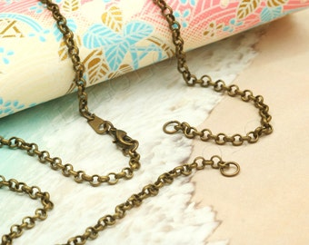 4 pcs handmade antique bronze finish rolo chain necklace with 2 jump rings CH102