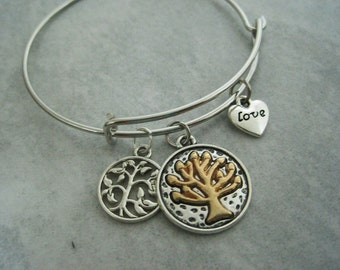 Alice and Andy Zen Chinese Tree of Life Love Bangle Charm  Bracelet