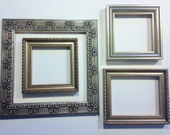 Set of 4 Ornate Warm Silver Frames - Various Sizes