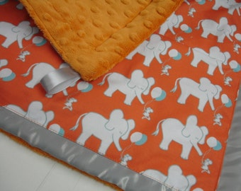 Let's Be Friends Elephant and Mouse Orange  Aqua and Gray Satin Trimmed Minky Lovey 15 X 15 READY TO SHIP