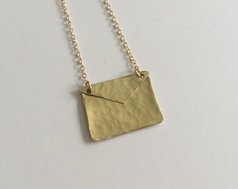 Gold Envelope Necklace on Gold Filled Chain - Gift For Her