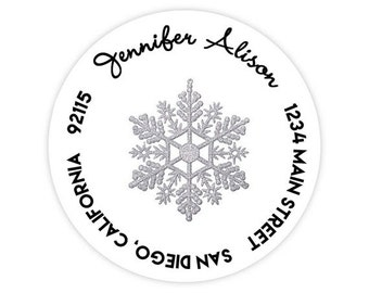 Silver Snowflake Glitter Christmas Holiday Cards / Circle Return Address Labels / Stickers - 1.75 inch circles / 20 per set