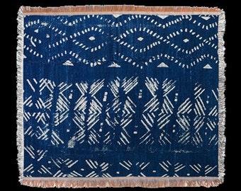 Indigo Blue Mudcloth Batik Design Throw or Tapestry