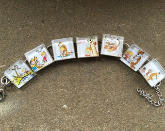 Calvin and Hobbes square link bracelet gotta love their antics FREE USA SHIPPING